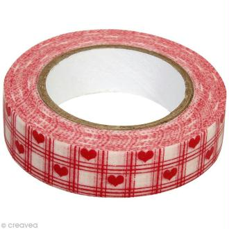 Washi Tape Coeurs Rouge et Blanc 15 mm x 15 m