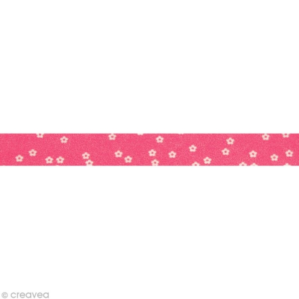 Washi Tape Fleurs Rose et Blanc 15 mm x 15 m - Photo n°2