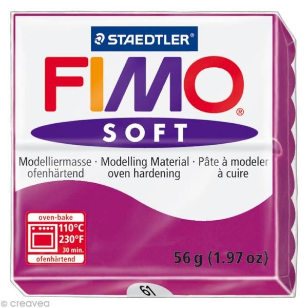 Pâte Fimo soft Rose pourpre 61 - 56 gr - Photo n°1
