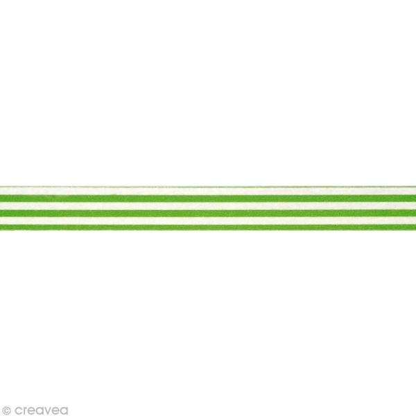 Washi Tape Rayures Vert et Blanc 15 mm x 15 m - Photo n°2