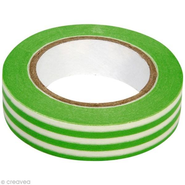 Washi Tape Rayures Vert et Blanc 15 mm x 15 m - Photo n°1