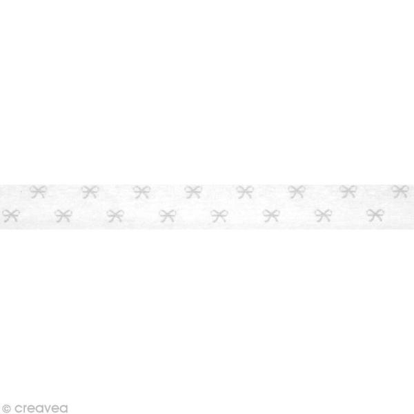 Washi Tape Petits noeuds Blanc et gris 15 mm x 15 m - Photo n°2