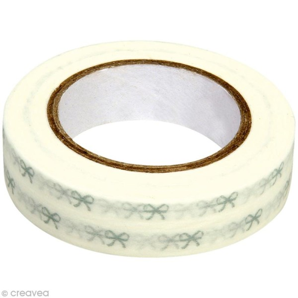 Washi Tape Petits noeuds Blanc et gris 15 mm x 15 m - Photo n°1