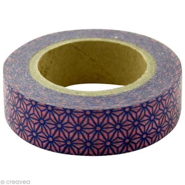 Washi Tape Étoiles Violet et Rose 15 mm x 15 m - Photo n°1