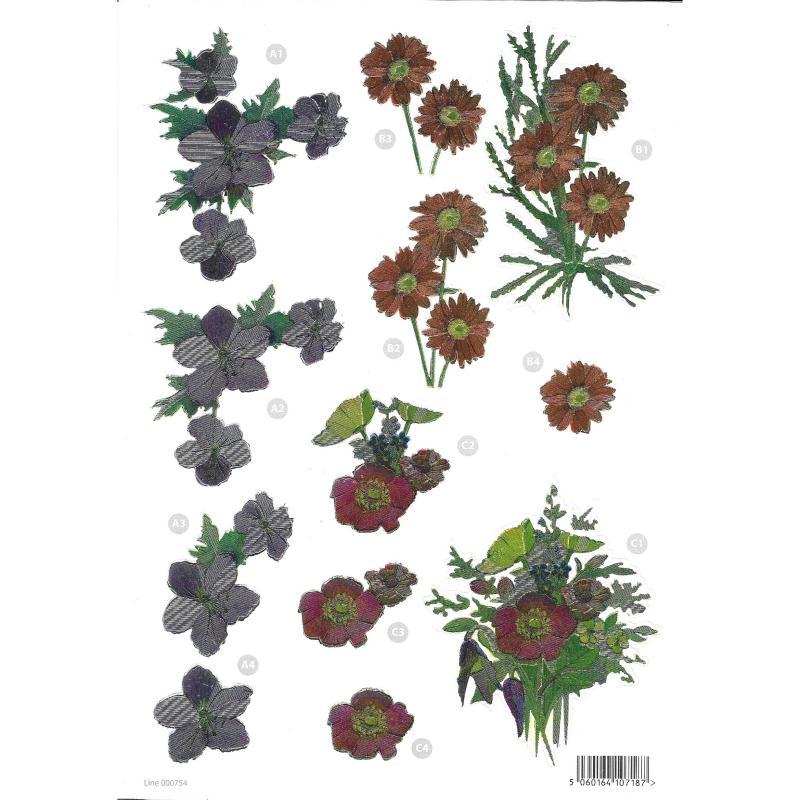 Feuille 3D pré-découpée A4 Refléchissante Fleurs - Photo n°1