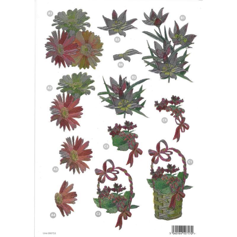 Feuille 3D pré-découpée A4 Refléchissante Fleurs Panier - Photo n°1