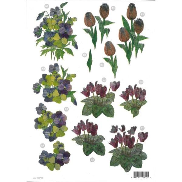 Feuille 3D pré-découpée A4 Refléchissante Pensées Tulipes - Photo n°1