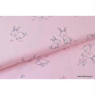 Popeline coton imprimé gros lapins roses .x1m