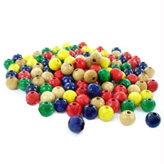 Sachet de 1000 perles de bois diam 10 mm Multi