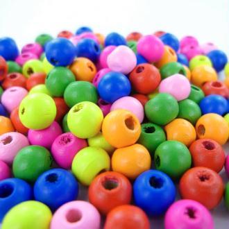 Sachet de 1000 perles de bois diam 10 mm Multi Nuance rose