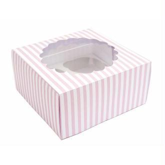 2 Boîtes à Cupcakes - rayé rose et blanc - Rico Design