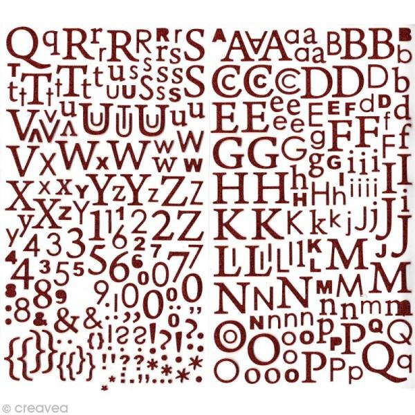 Sticker alphabet scrapbooking Rouge pailleté x 300 - Photo n°1