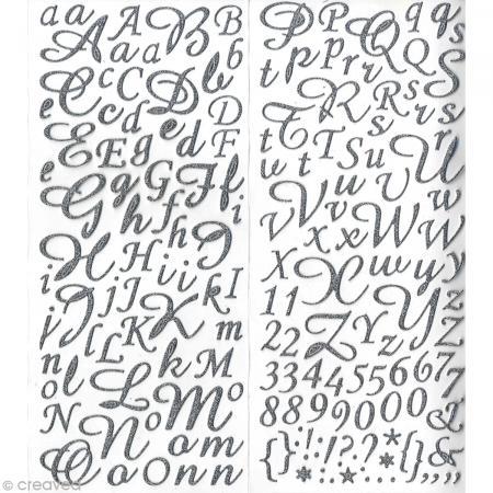 Sticker alphabet scrapbooking Argent pailleté script x 177 - Photo n°1