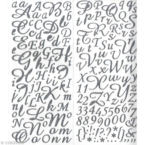 Sticker alphabet scrapbooking Argent pailleté script x 177 - Photo n°1