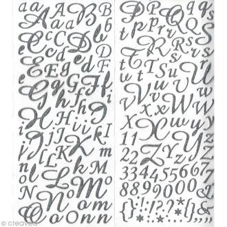 Sticker alphabet scrapbooking Argent pailleté script x 177