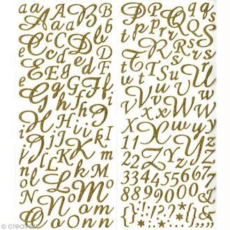 Sticker alphabet scrapbooking Or pailleté script x 177