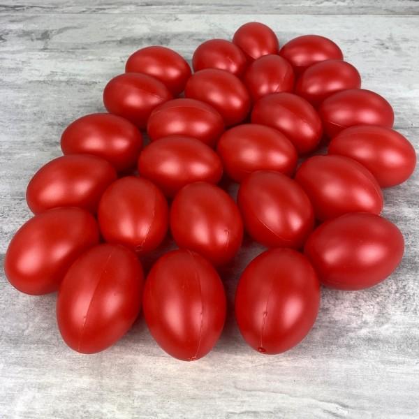 Gros Lot de 25 Oeufs en plastique Rouge brillant, hauteur 6cm, pour déco de Pâques - Photo n°1