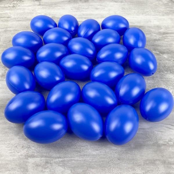 Gros Lot de 25 Oeufs en plastique Bleu brillant, hauteur 6cm, pour déco de Pâques - Photo n°1
