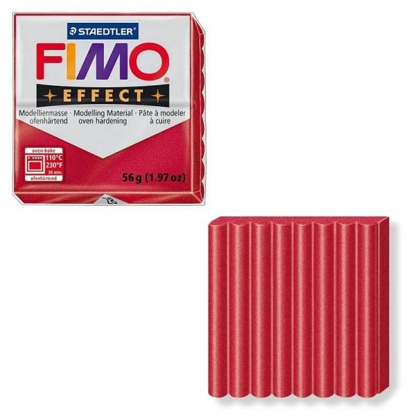 Pâte Fimo Effect couleur Rouge rubis Métallique n°28, Pain polymère de 57g à cuire au four - Photo n°1