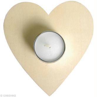 Socle pour bougie Coeur en bois à décorer 11,5 x 12 cm