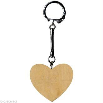 Porte clé Coeur à décorer en bois