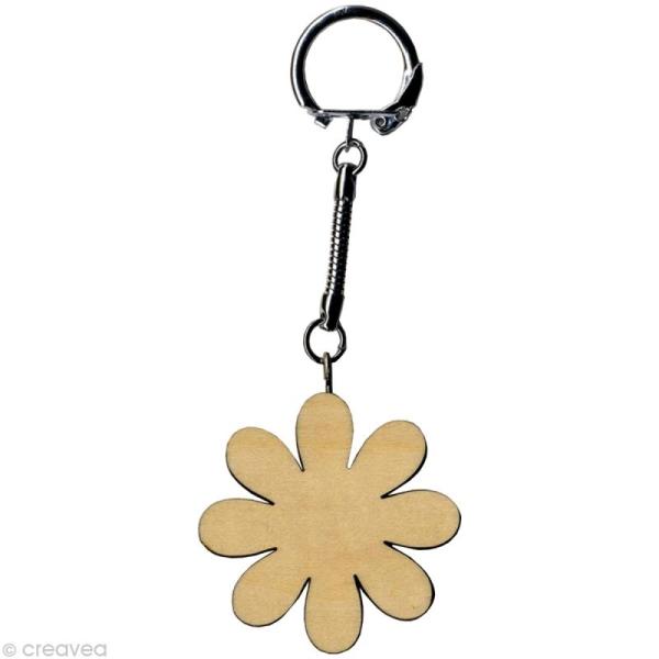 Porte clé Fleur à décorer en bois - Photo n°1