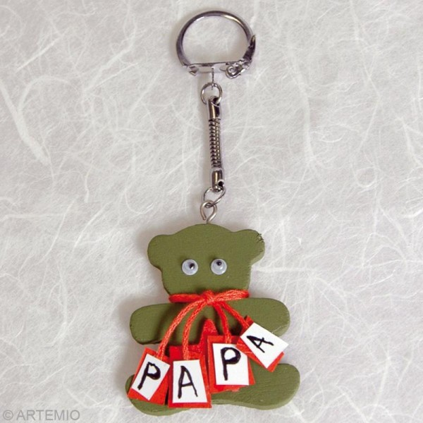 Porte clé Nounours à décorer en bois - Photo n°2