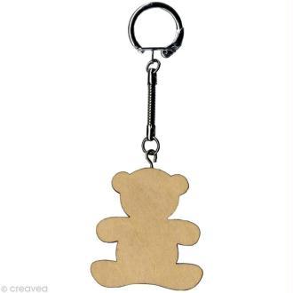 Porte clé Nounours à décorer en bois