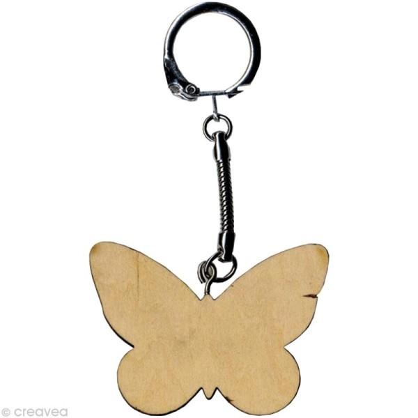 Porte clé Papillon à décorer en bois - Photo n°1