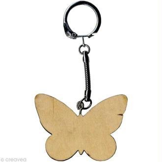 Porte clé Papillon à décorer en bois
