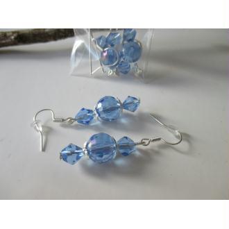 Kit boucles perles en verre electroplate bleue