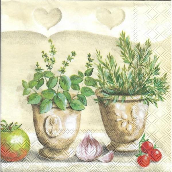 4 Serviettes en papier Herbes Cuisine Format Lunch - Photo n°2