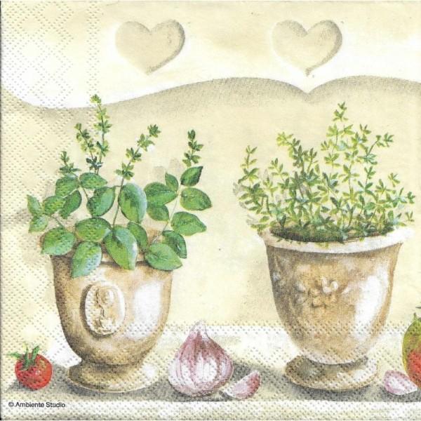 4 Serviettes en papier Herbes Cuisine Format Lunch - Photo n°1