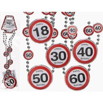 Collier de perles anniversaire avec cocardes 40 ans