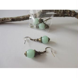 Kit boucles perle imitation jade vert et apprêt bronze