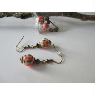 Kit boucles d'oreilles perle motif fleur et apprêts bronzes