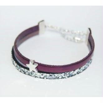 Bracelet étoile deux cuirs
