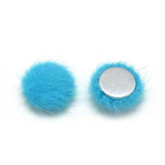 2 Cabochon Fourrure Bleu Turquoise 20mm