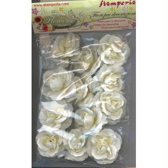 12 Fleurs Roses blanches 4,5 cm pour scrapbooking ou construction de bouquet