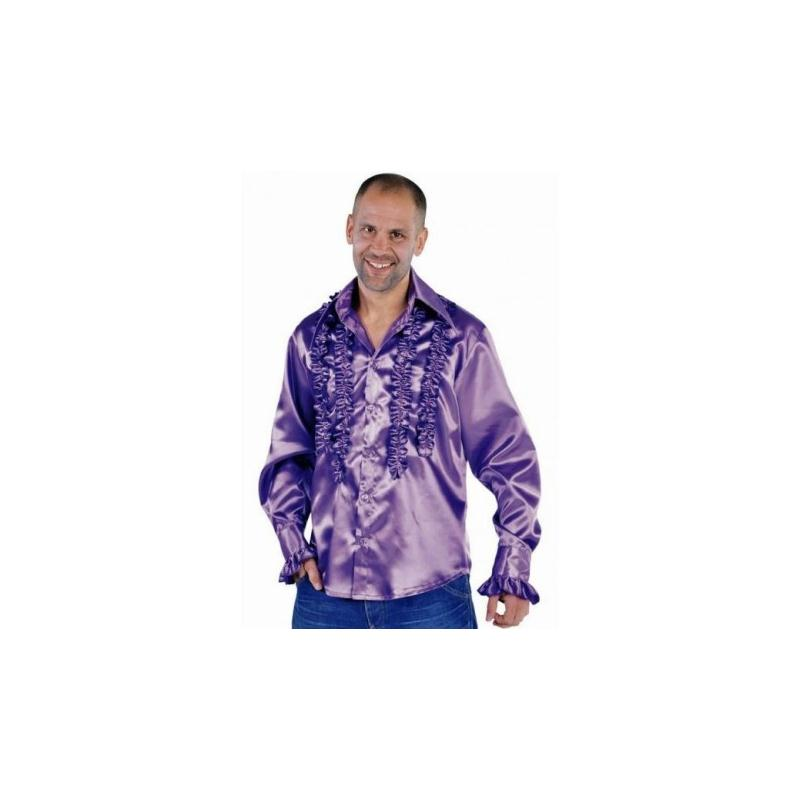d guisement chemise disco violette homme luxe taille m costumes homme creavea. Black Bedroom Furniture Sets. Home Design Ideas