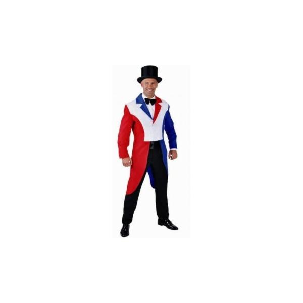 Déguisement Queue de Pie rouge-blanc-bleu homme luxe  Taille M - Photo n fb1da859ddd