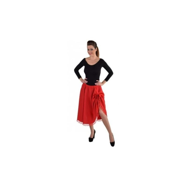 476185302e5ee5 Jupe mi-longue rouge avec dentelle femme luxe_ Taille SM