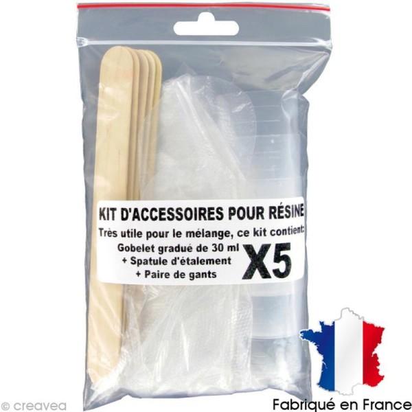 Kit accessoires Résine - Gobelet Spatule Gants x 5 - Photo n°1