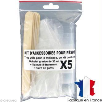 Kit accessoires Résine - Gobelet Spatule Gants x 5