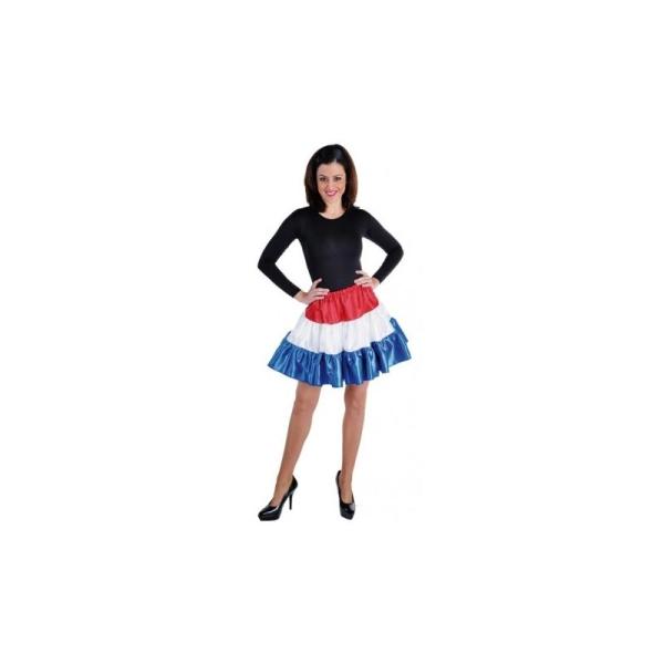 6364f4707ea Déguisement jupe courte rouge blanc bleu à volants satin femme  Taille L -  Photo n°