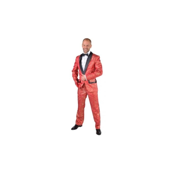 Déguisement smoking brocart rouge homme luxe  Taille XL - Costumes ... 2c82a94890a