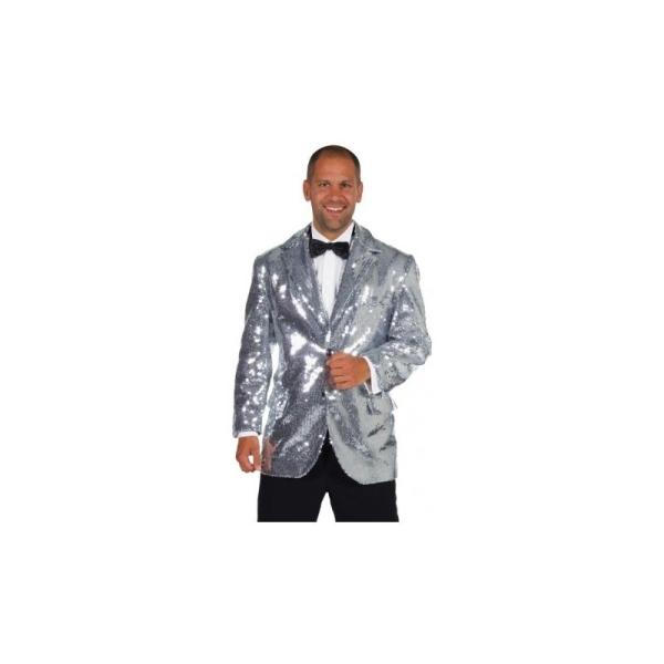 Homme Sequin Déguisement Luxe Veste Taille Chic S Argent Paillettes EwwWIqvO