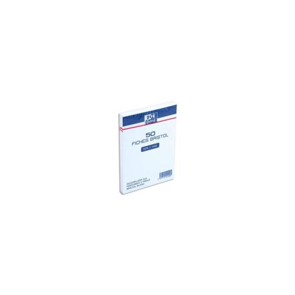 50 fiches Bristol sous films - 105x148 - Quadrillé blanc - Perforé - Photo n°1