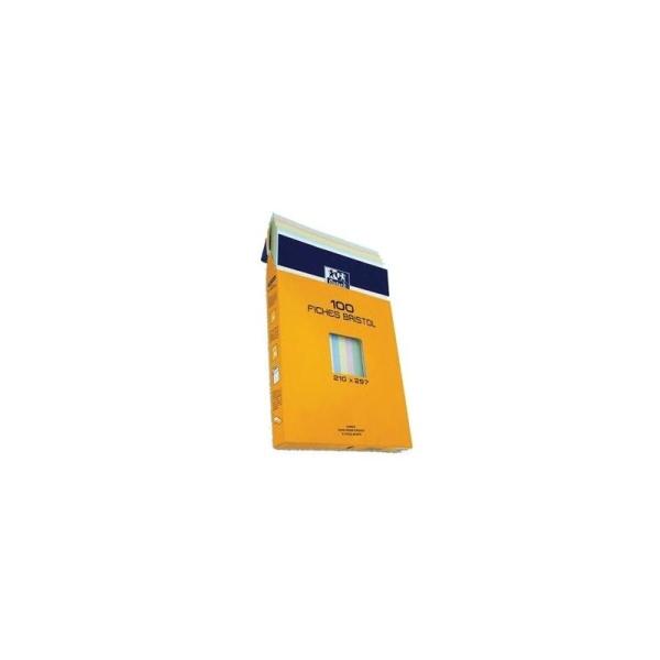 Etui de 100 fiches Bristol -  210x297 - Quadrillé couleur - Non perforé - Photo n°1