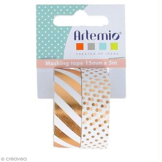 Masking Tape Foil Artemio - Rayures et pois cuivrés - 1,5 cm x 5 m - 2 pcs